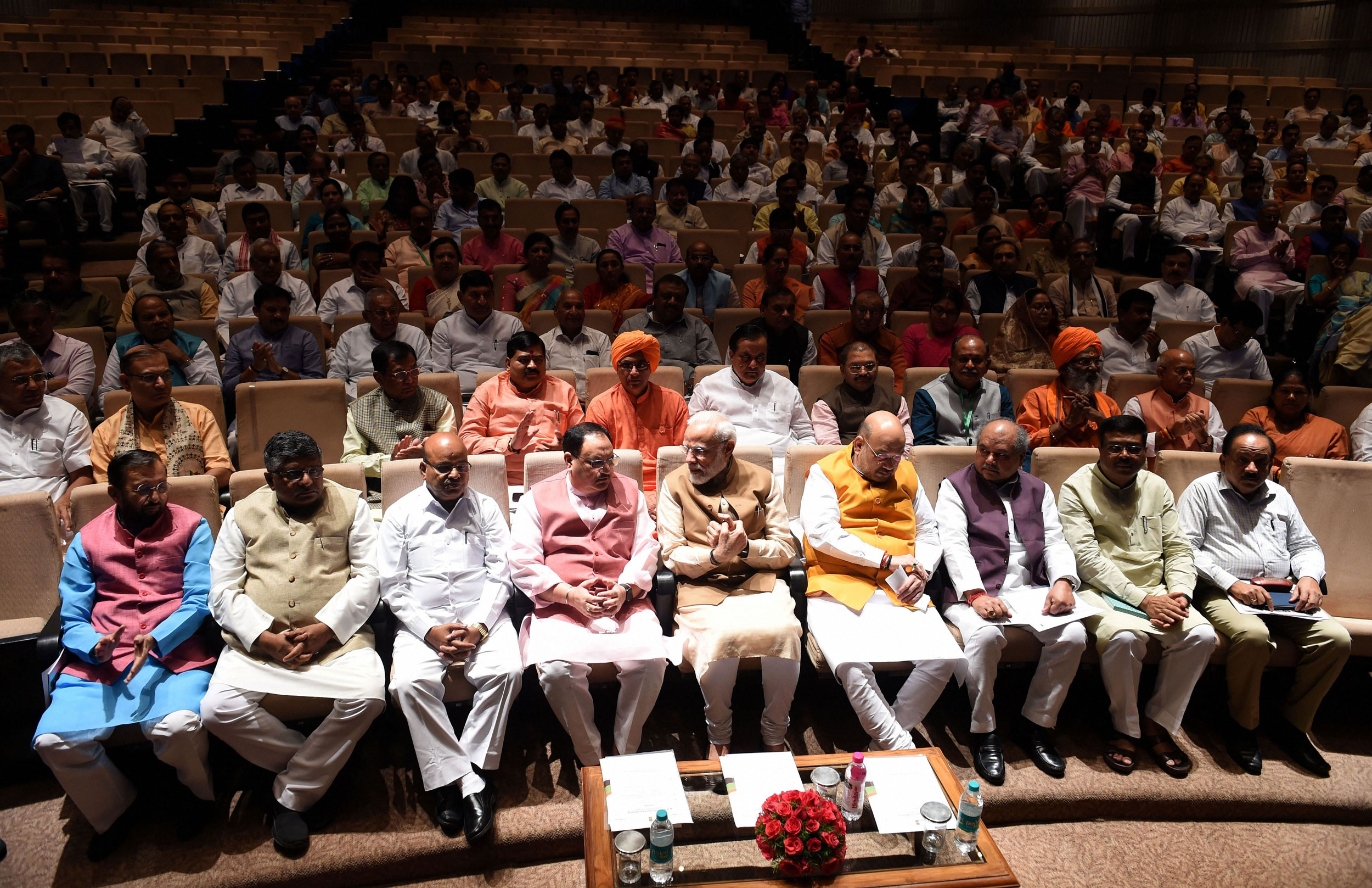 Narendra Modi, Amit Shah, J.P. Nadda, among others, attend a BJP parliamentary meeting at Parliament house in New Delhi on 30, 2019. On liabilities, the BJP is a far second, at Rs 21.38 crore.