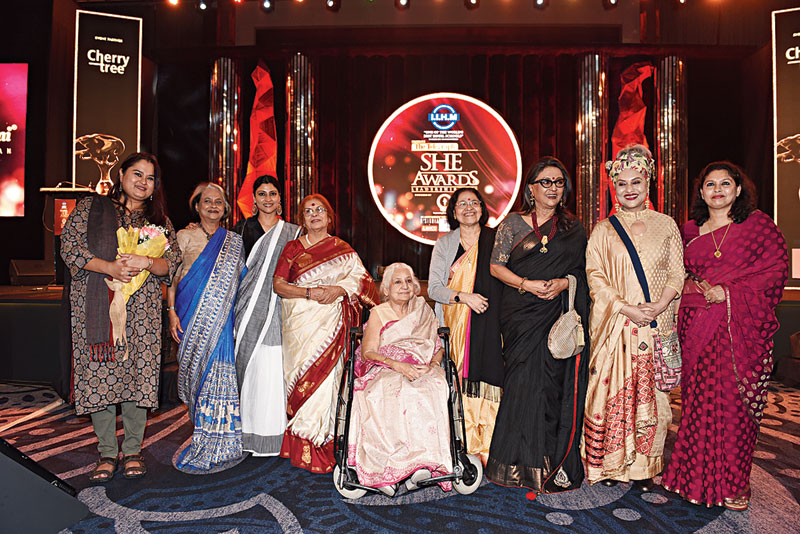 Winners of The Telegraph She Awards 2020 — (l-r) Sohini Sengupta, Nandita Raja, Konkona Sensharma, Bani Basu, Madhusree Dasgupta, Thankamani Kutty, Aparna Sen, Alokananda Roy, and Bula Choudhury