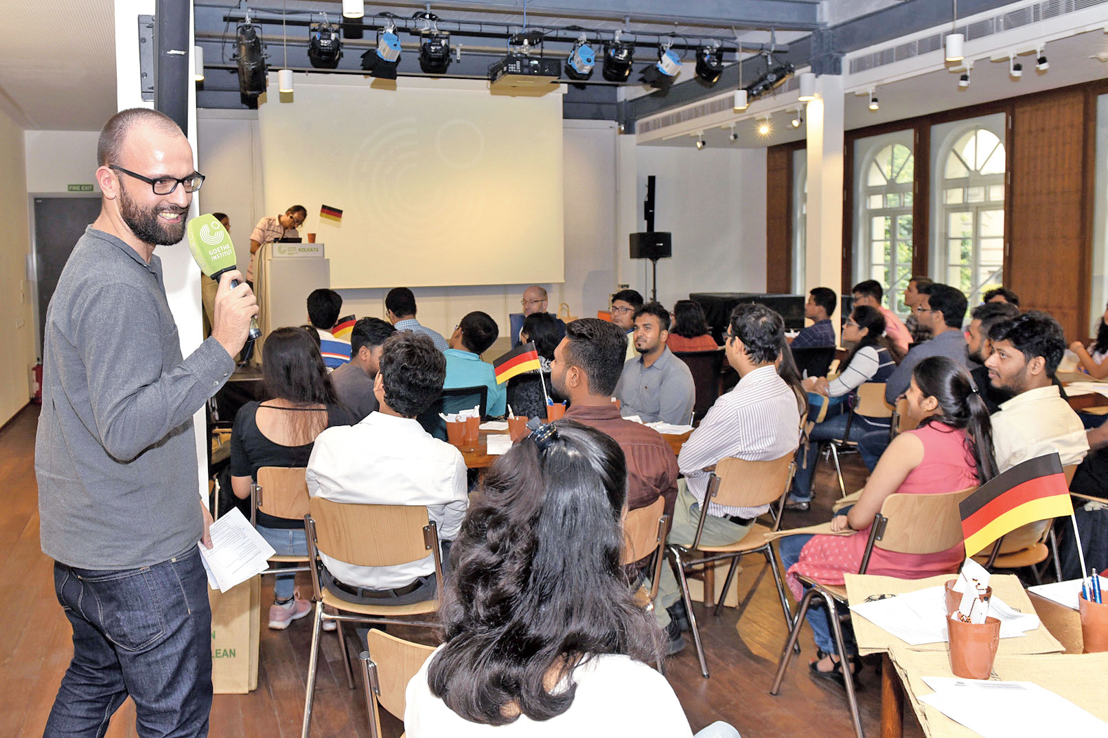 Jonas Wachinger, a German student interning with the German consulate in Calcutta, with students at Tuesday's session at Goethe-Institut.