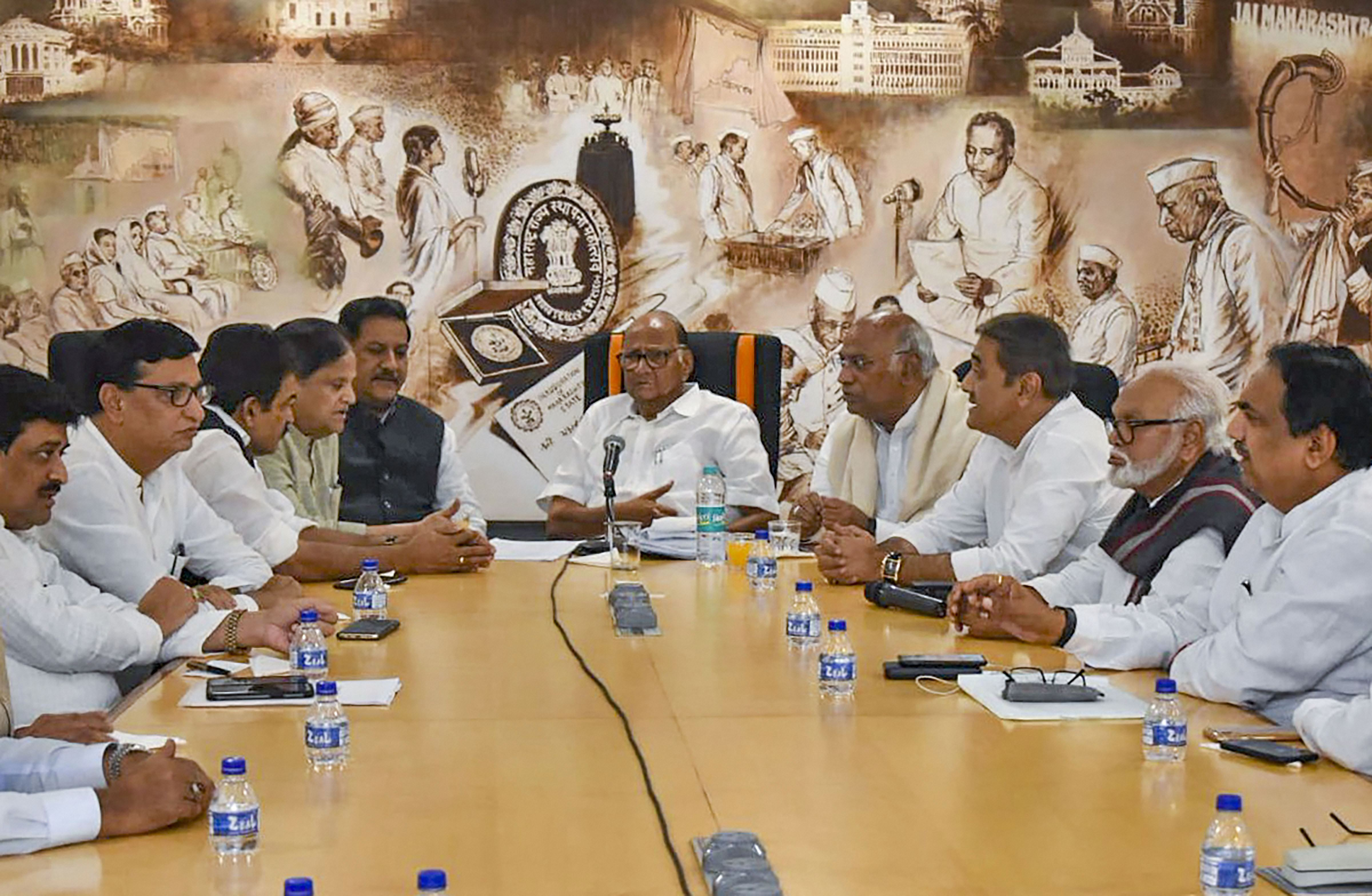 Congress leaders during a meeting with Nationalist Congress Party, in Mumbai, Tuesday, November 12, 2019