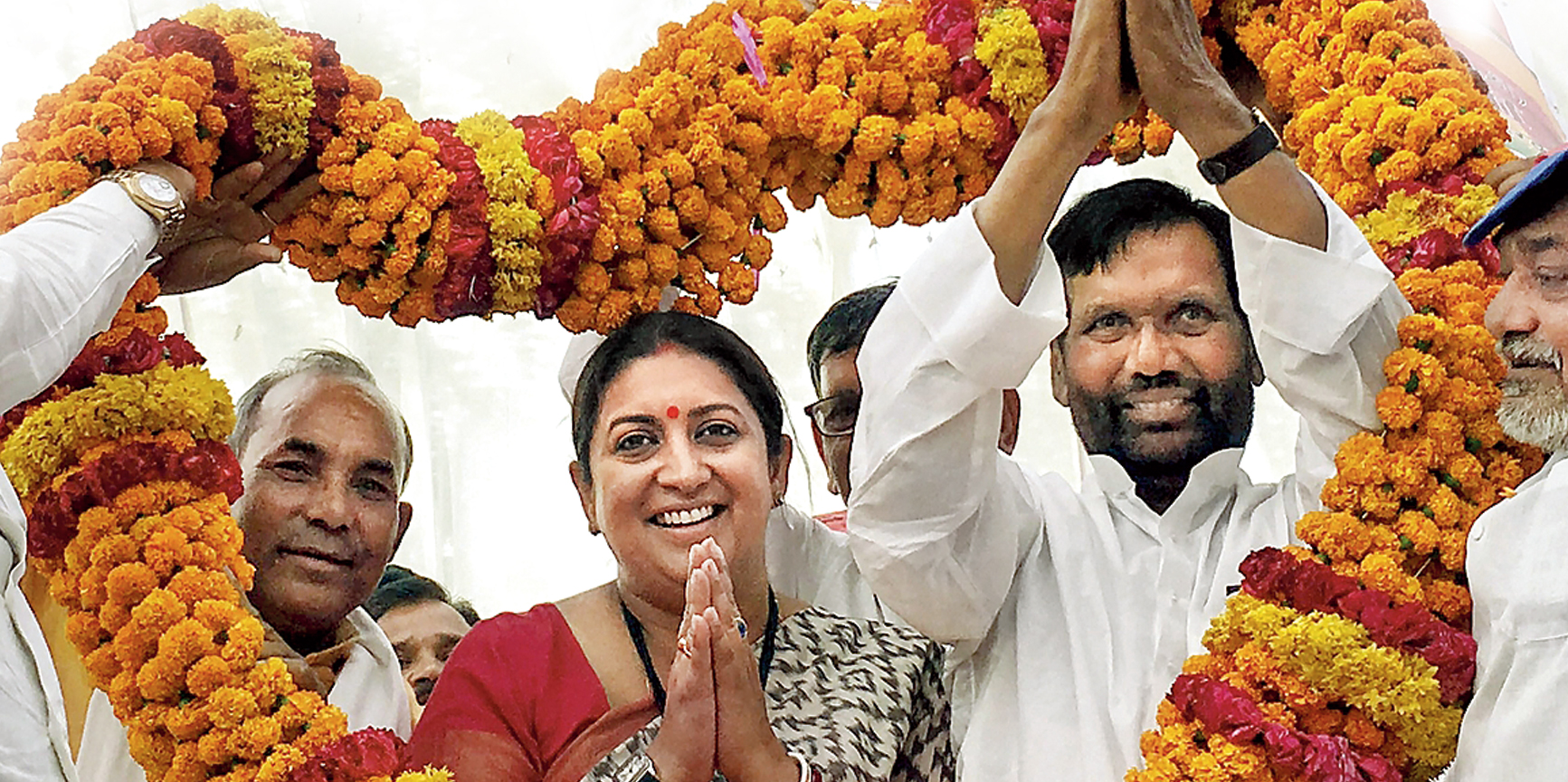 BJP candidate Smriti Irani at a rally in Amethi on April 28.