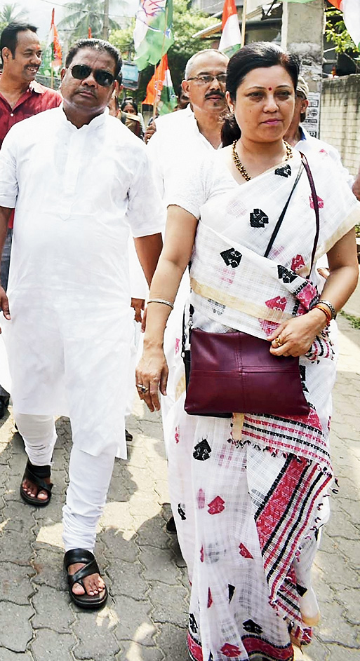 PCC president Ripun Bora (in dark glasses) and other party leaders take part in the Congress Lok Sampark (people connect) campaign in Guwahati on Tuesday.
