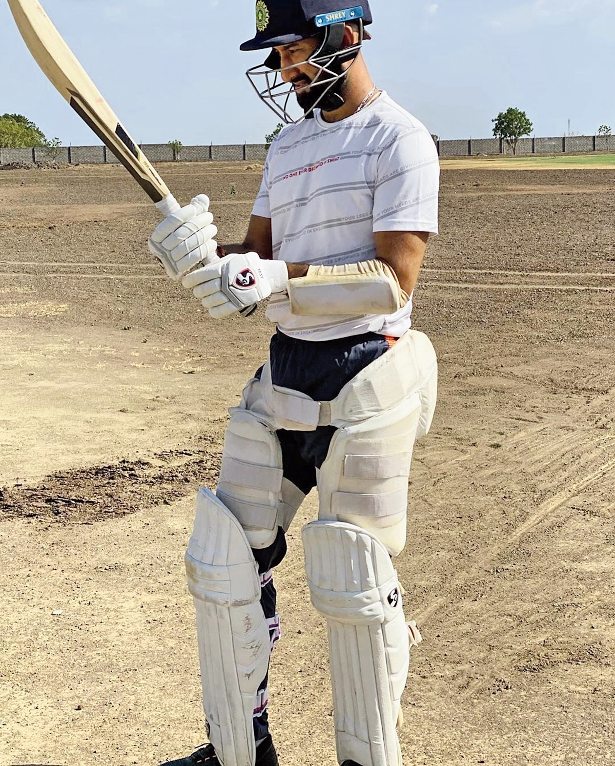 """India Test batsman Cheteshwar Pujara at nets at his academy on the outskirts of Rajkot on Monday. """"Back at it...felt like a long time away but just as i took the stance felt as if it was yesterday,"""" he wrote on Instagram. Instrumental in Saurashtra's maiden Ranji triumph earlier in the year, Pujara trained alongside the team's skipper Jaydev Unadkat as well as other players. Pujara's next international stint would most likely be the Australia tour in December."""