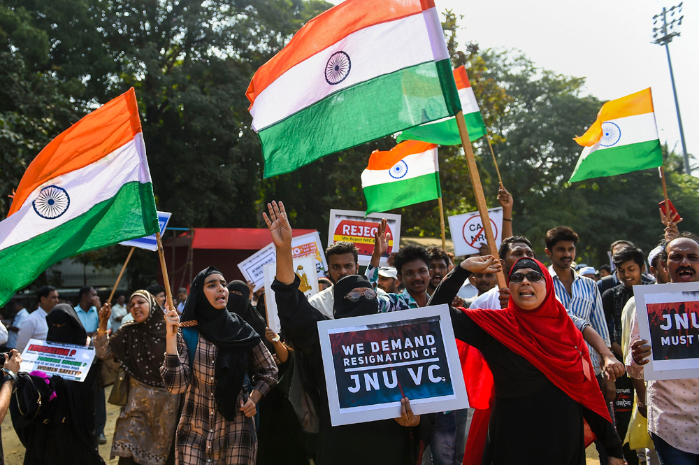 Protesters shout slogans as they demonstrate against Citizenship Amendment Bill and attack on New Delhis Jawaharlal Nehru University, at Azad Maidan in Mumbai, Wednesday, January 8, 2020.