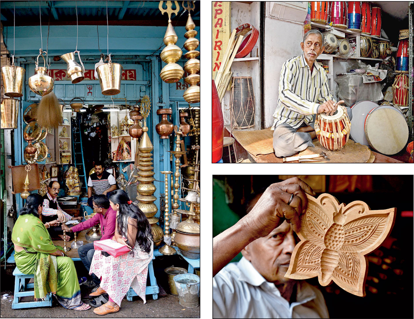 VARIETY SHOW: The old Chitpore Road, now known as Rabindra Sarani, is dotted with shops selling utensils, musical instruments and sandesh moulds among other things