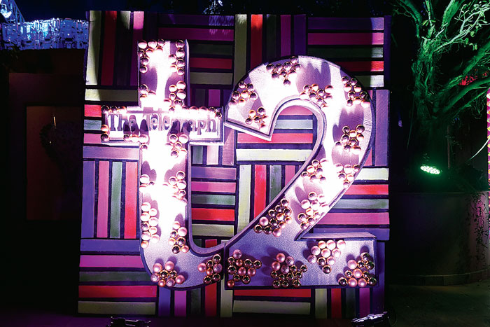 With neon and metallic being the dominant theme of the party, the entrance captured both the elements. On a 8ft X8ft neon backdrop, a 6ft t2 logo was put up. The t2 logo had touches of silver at the base and matte, shiny and textured golden balls in clusters.