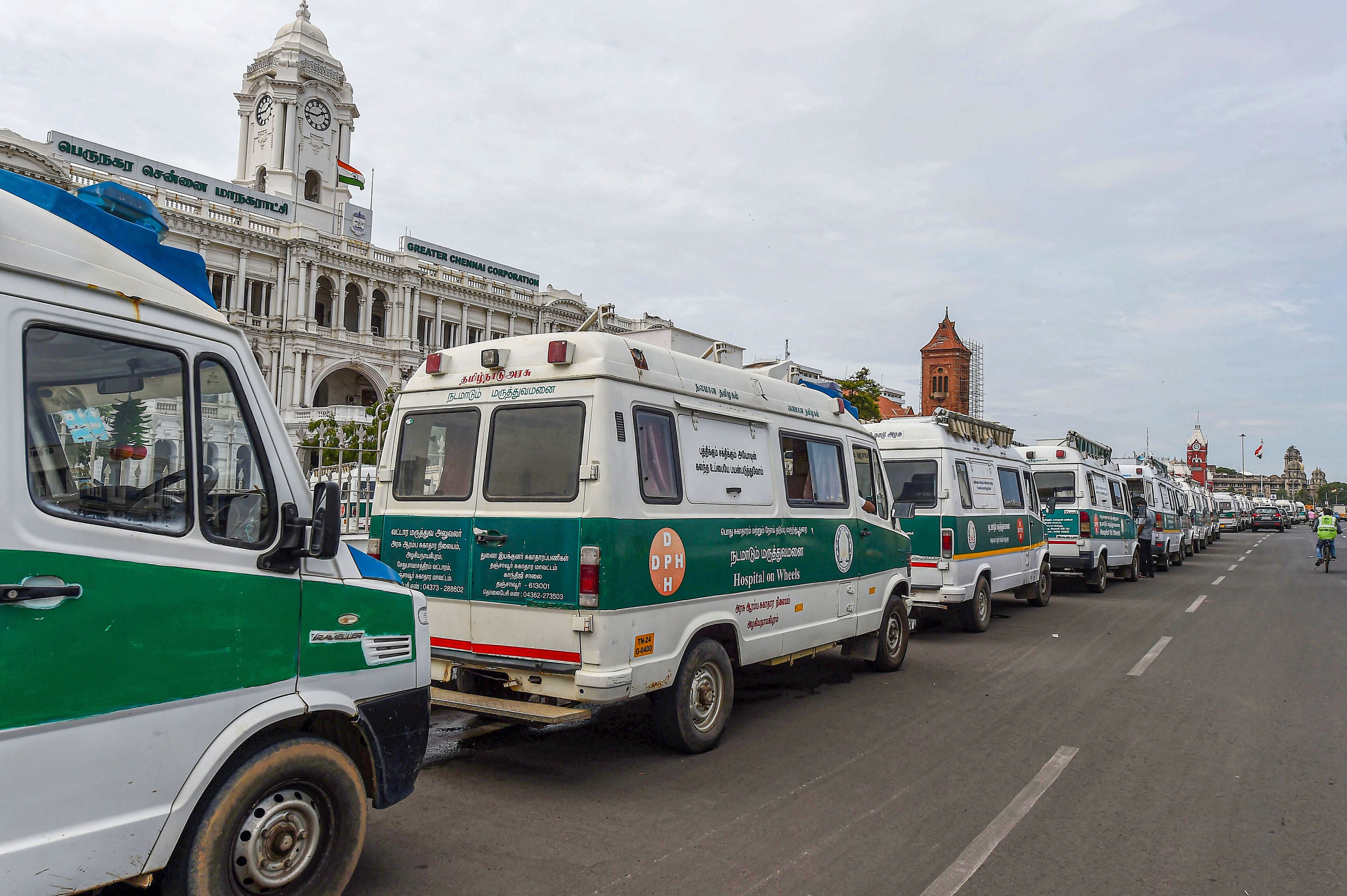 Ambulances parked in a queue in front of the Greater Chennai Corporation as number of Covid-19 cases surge in the city on Friday.