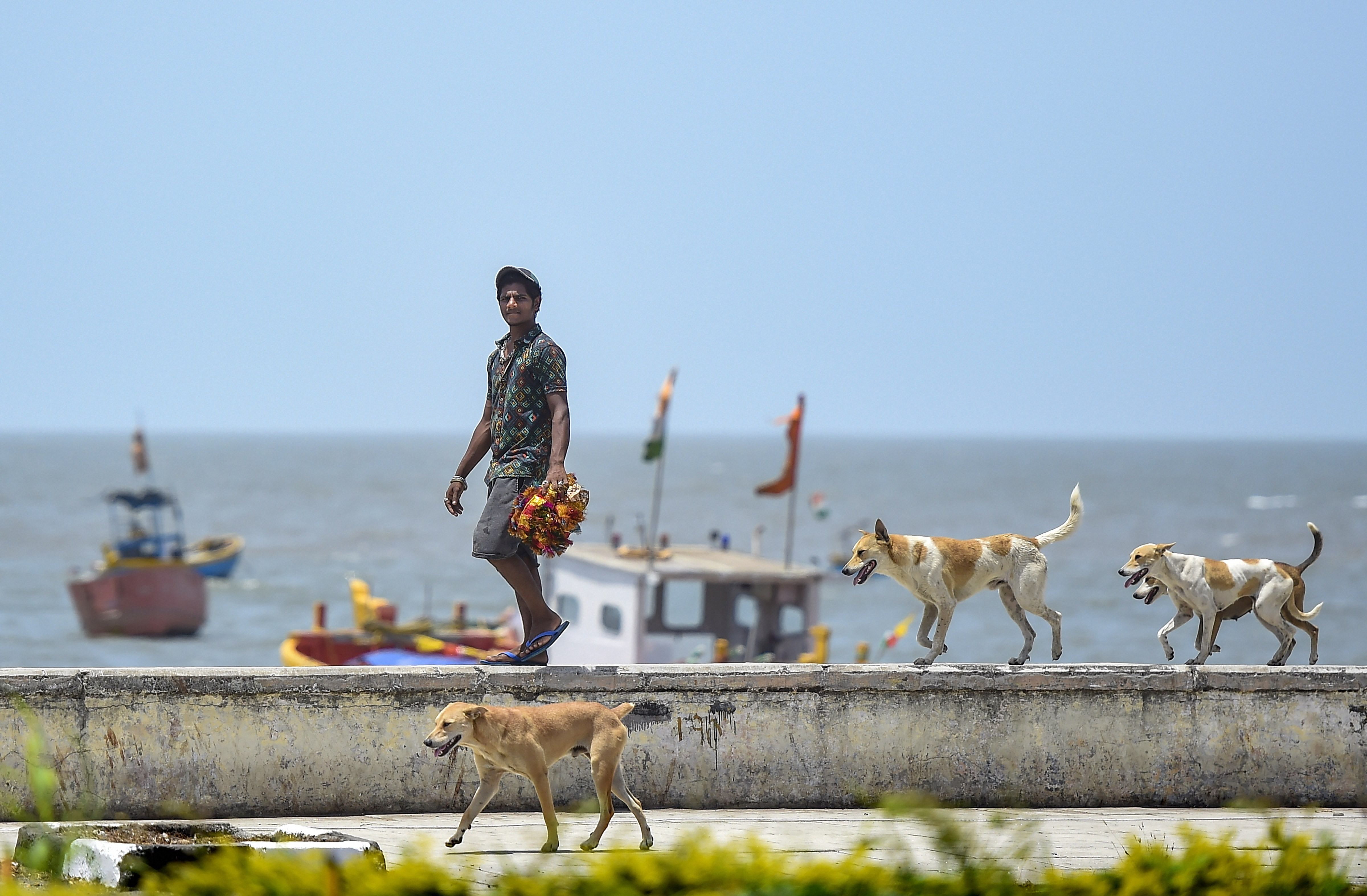 A man walks along a road during the nationwide lockdown, imposed in the wake of the coronavirus pandemic, at Worli in Mumbai, Thursday, April 9, 2020.