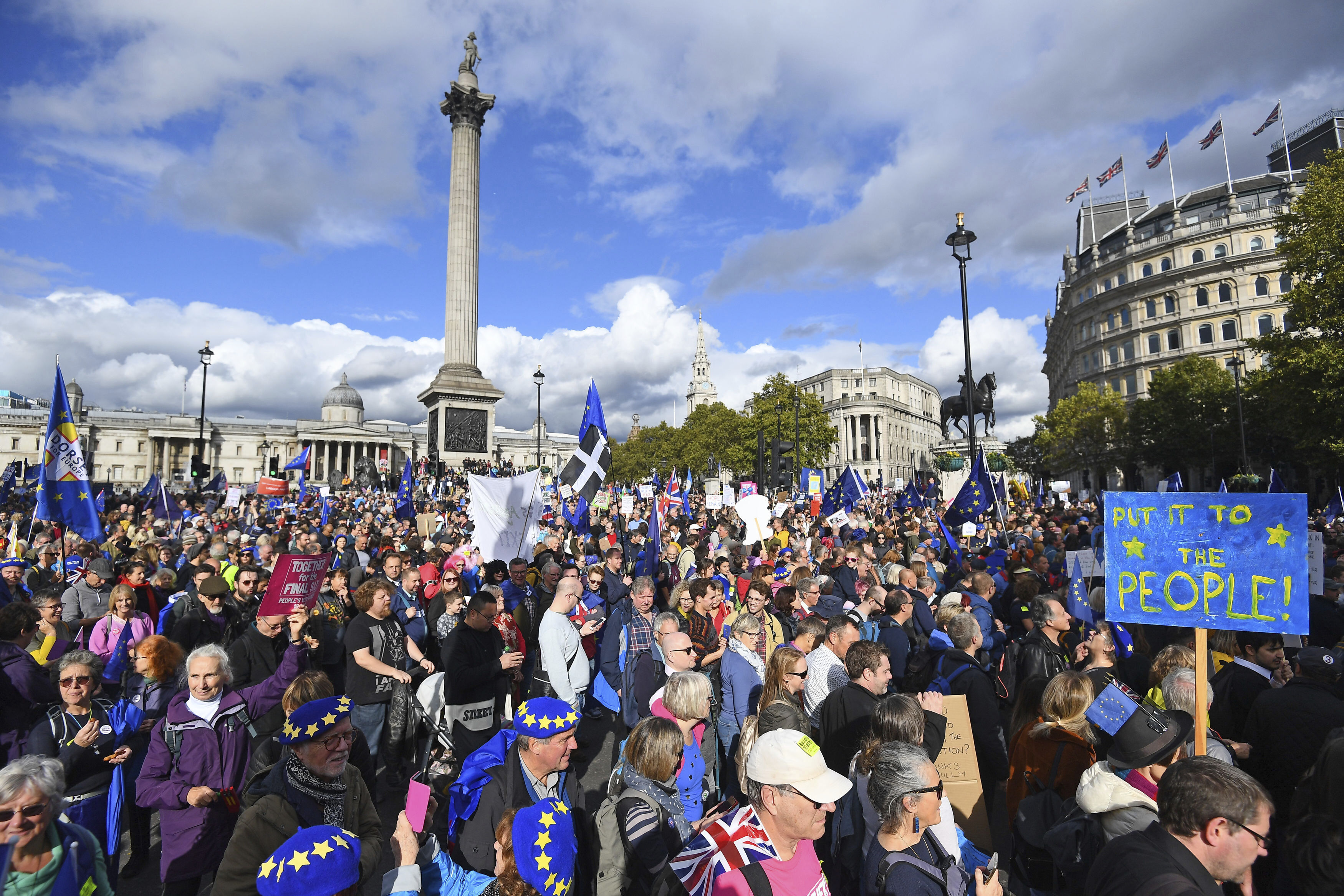 Anti-Brexit supporters during a protest march through Trafalgar Square in London, on October 19, 2019