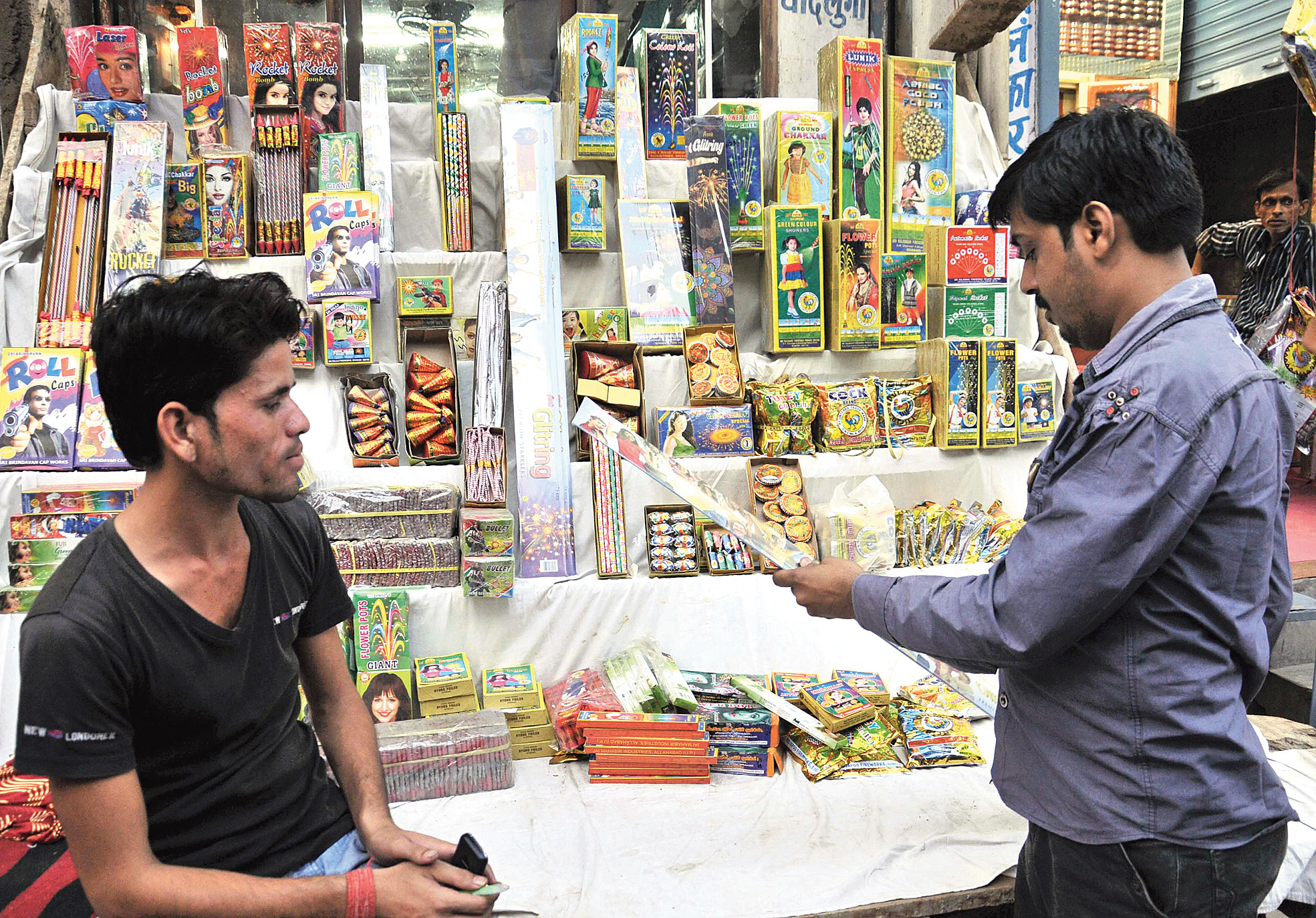 A cracker shop at Khajekalan in Patna City.