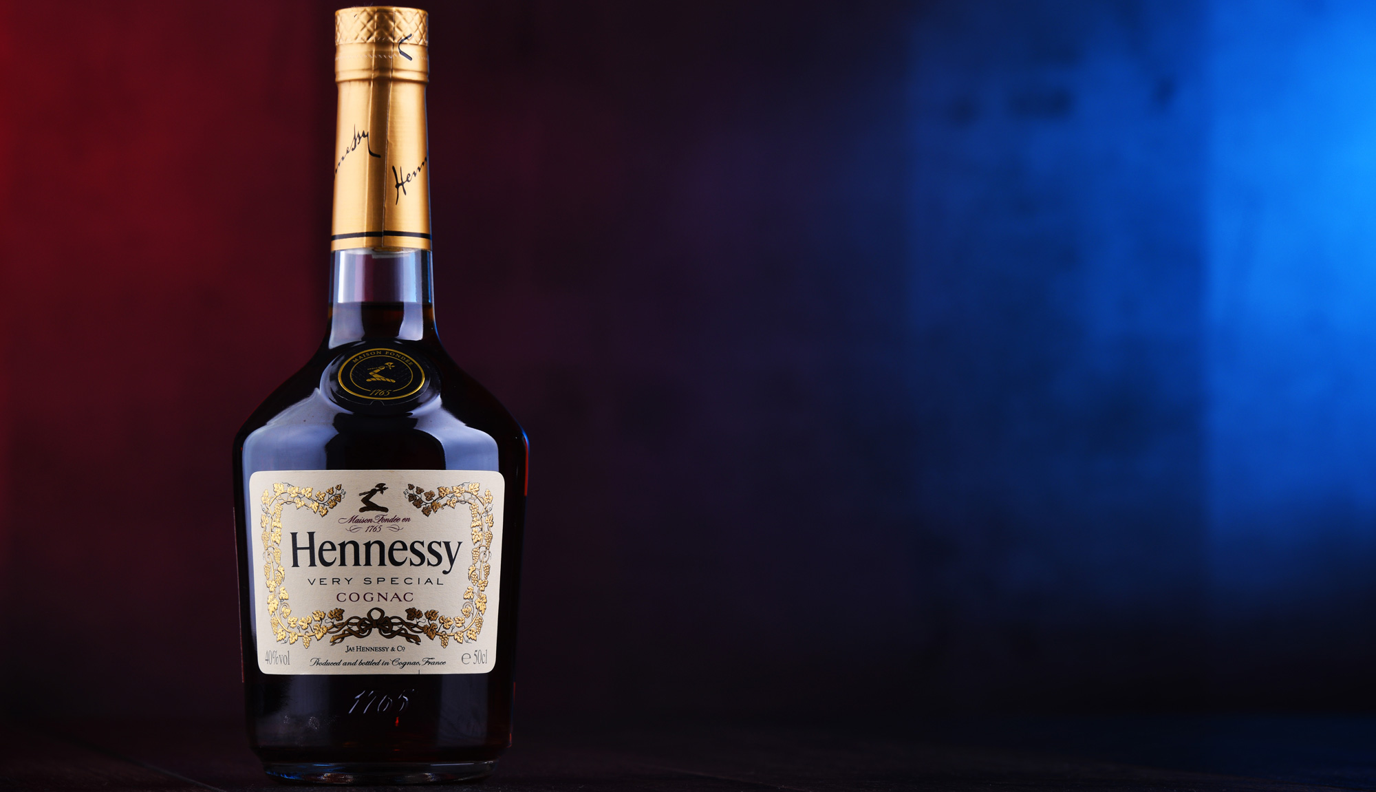 A bottle of Hennessy, a famous brand of cognac