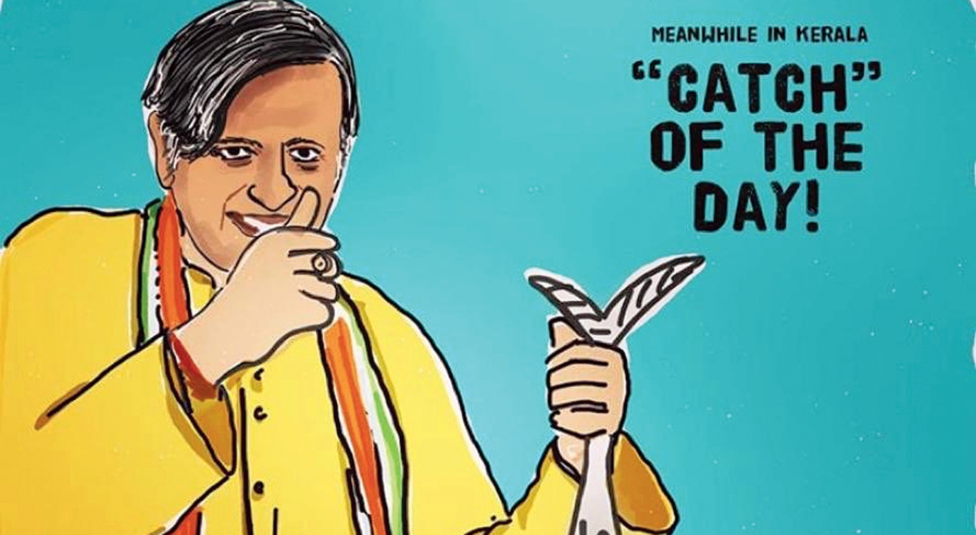 "A cartoon tweeted by Tharoor on Saturday. ""Haha! I don't mind having a good laugh at my own expense,"" the Congress MP wrote."