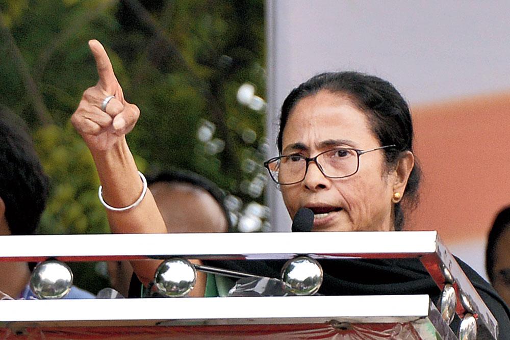 Mamata Banerjee addressing the rally in New Delhi.