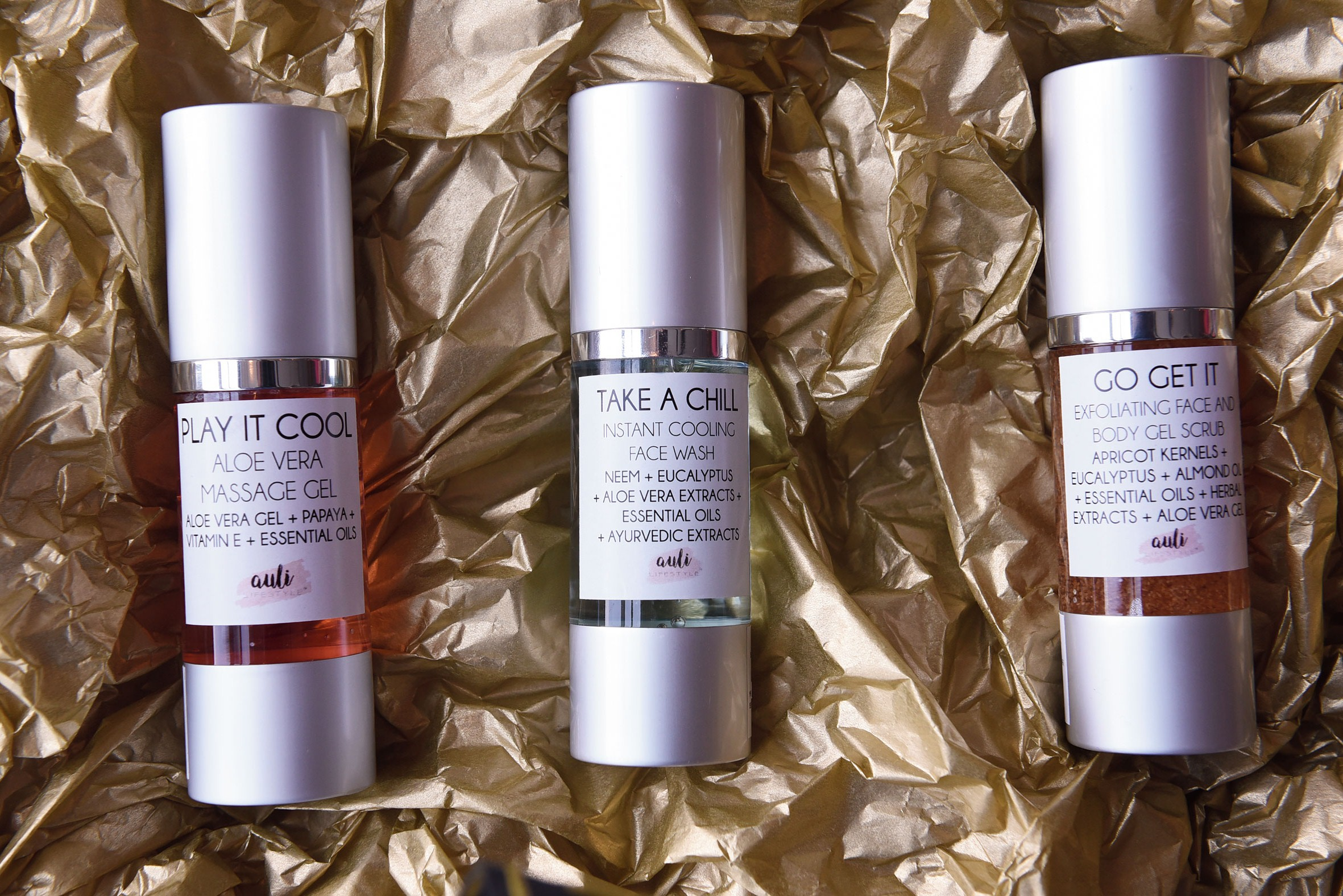A range from Auli's skincare products