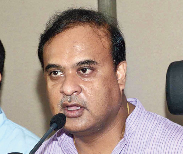 Himanta Biswa Sarma talks to the media in Guwahati on Saturday.