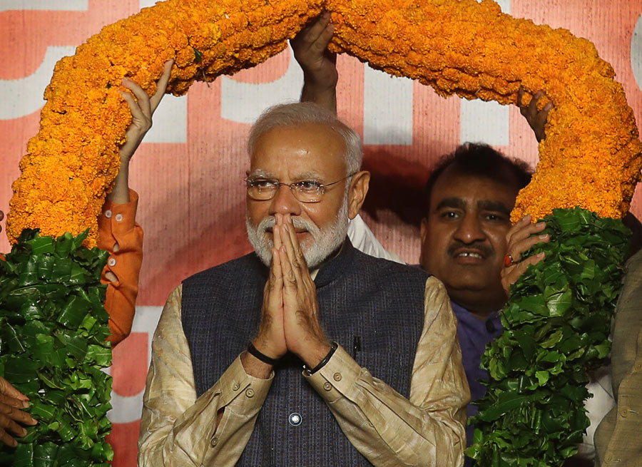 Prime Minister Narendra Modi at BJP headquarters in New Delhi on Thursday, May 23, 2019.