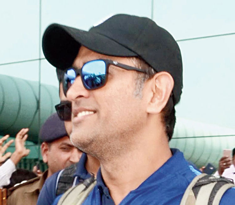 Mahendra Singh Dhoni at the Birsa Munda International Airport in Ranchi on Wednesday