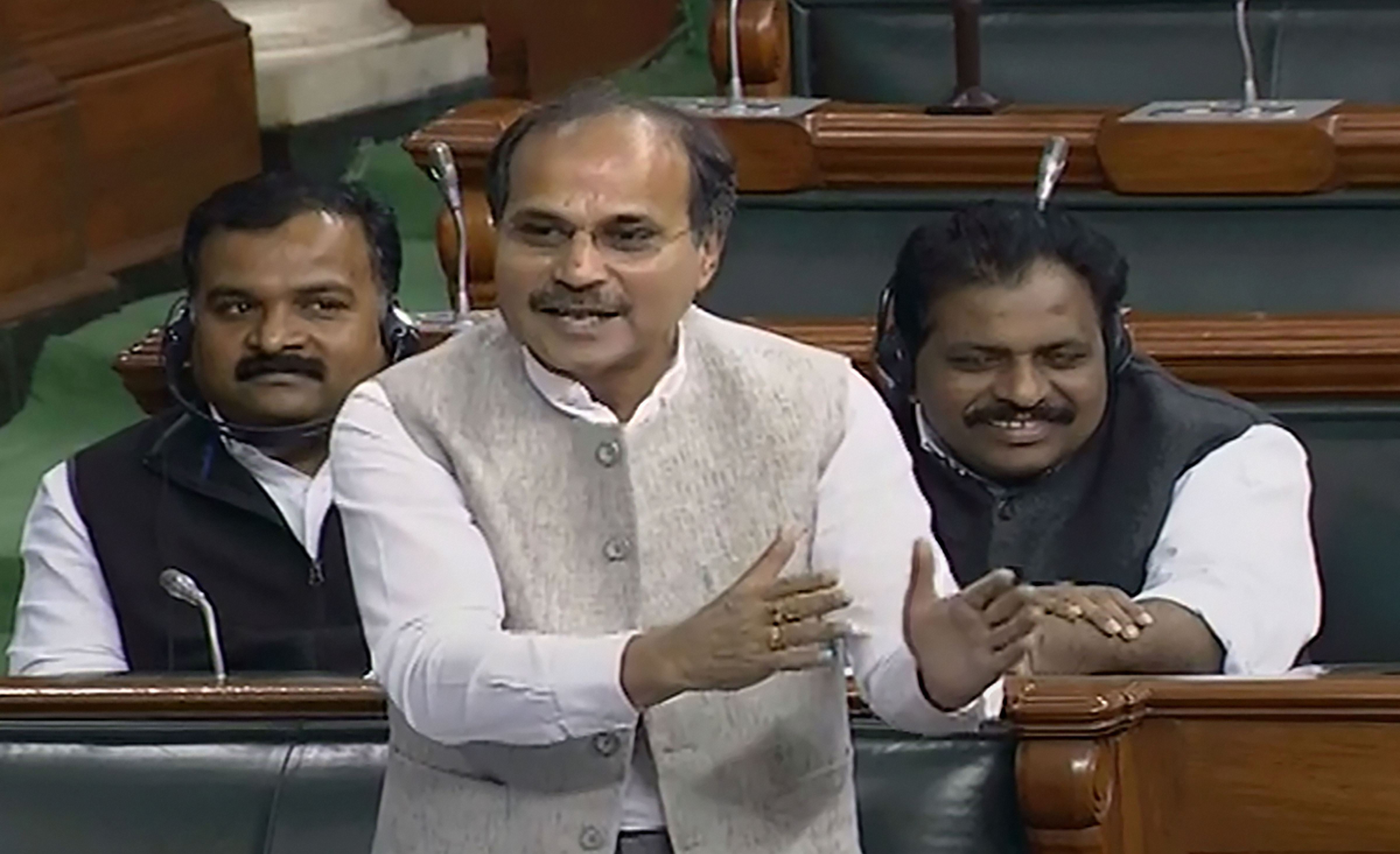 Congress leader Adhir Ranjan Chowdhury speaks in the Lok Sabha during the winter session of Parliament, in New Delhi, Monday, December 2, 2019.
