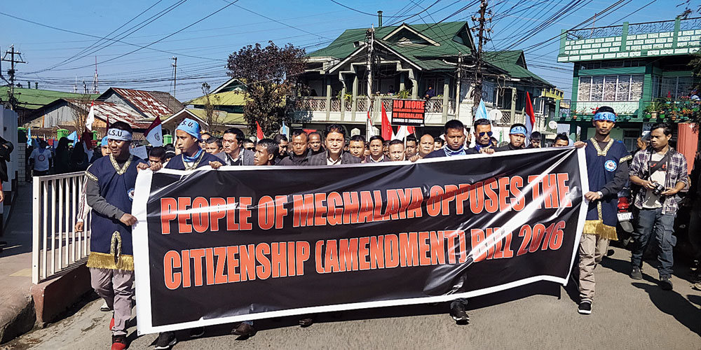 Protest against the Citizenship (Amendment) Bill, 2019, in Shillong. There has been rising concern about the distance that separates India from pluralism: what else can be deduced from the lynchings of Muslims or the BJP's encouragement of the unconstitutional provisions of the bill?