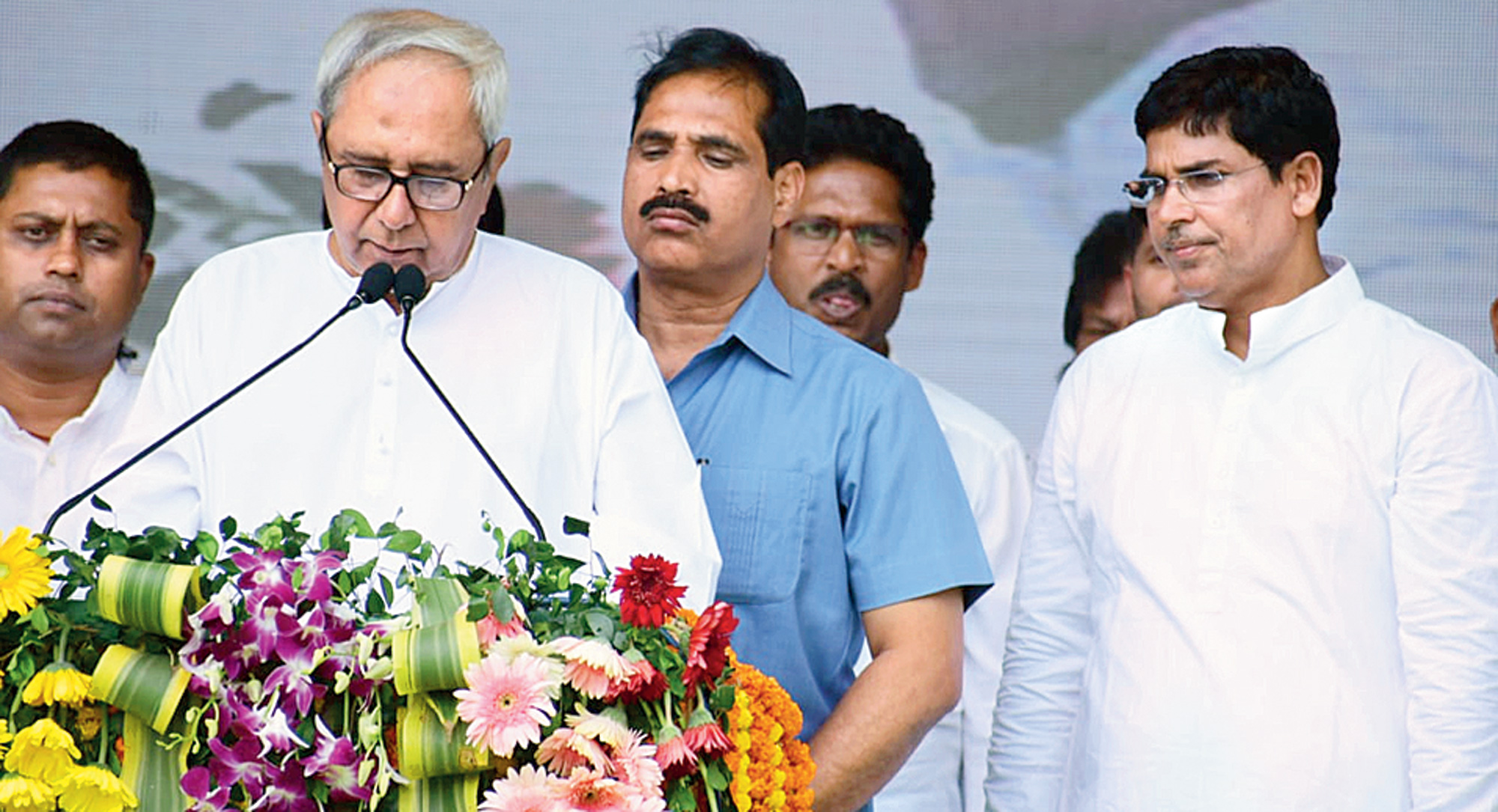 Odisha chief minister Naveen Patnaik at the public meeting in Nayagarh on Sunday.