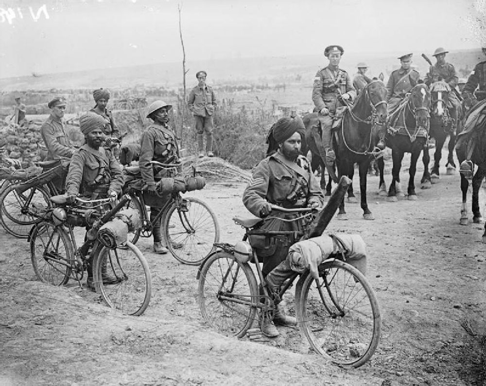 Indian bicycle troops at a crossroads on the Fricourt-Mametz Road, Somme, France during World War I