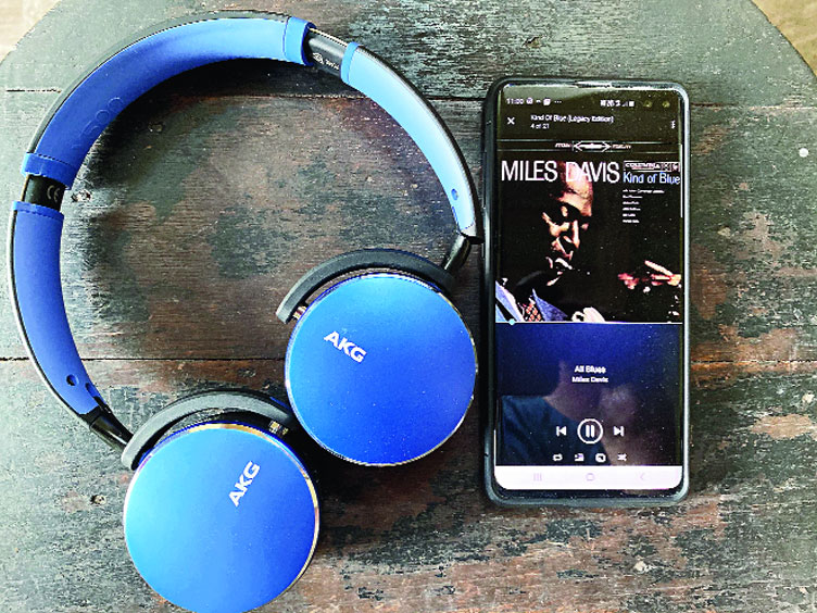 Miles Davis's Kind of Blue streams on the AKG by Samsung's Y500 wireless headphones.