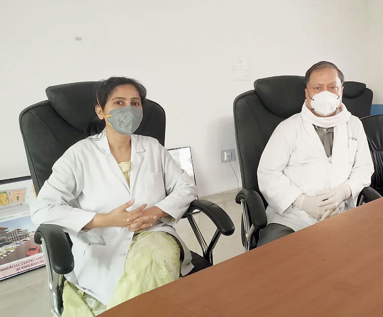 Dr Pragya Ghosh Pant (left) with RIMS director DK Singh on Monday.