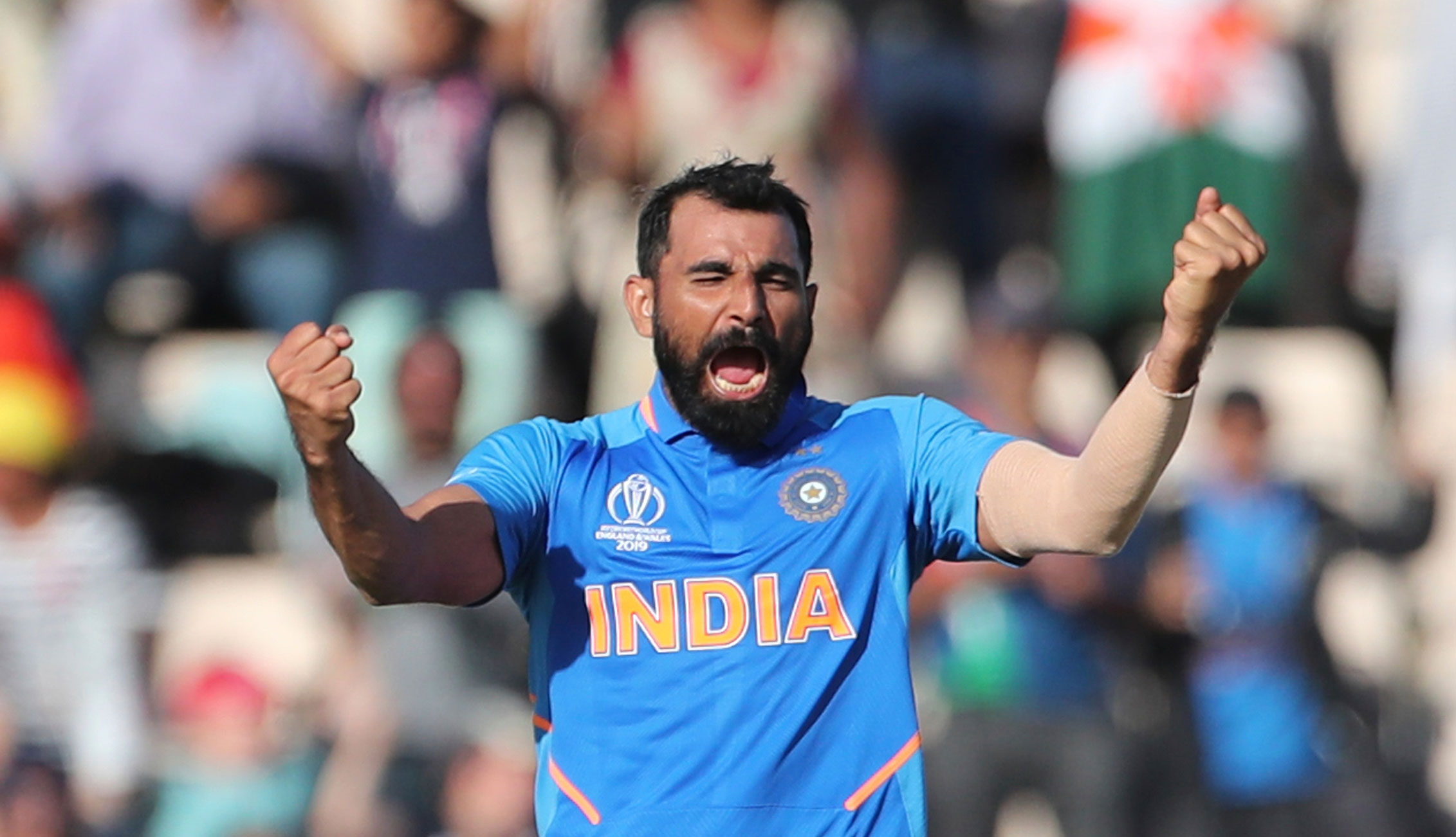 Mohammed Shami celebrates his hat-trick after dismissing Afghanistan's Mujeeb Ur Rahman during the ICC Cricket World Cup match between India and Afghanistan at the Hampshire Bowl in Southampton, on June 22, 2019.