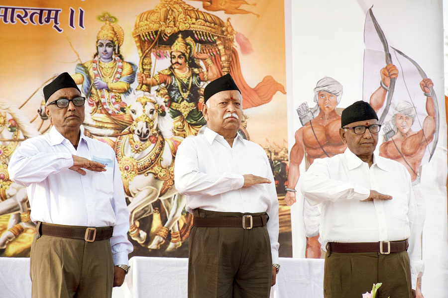 RSS chief Mohan Bhagwat (middle) at Morabadi in Ranchi on Thursday.