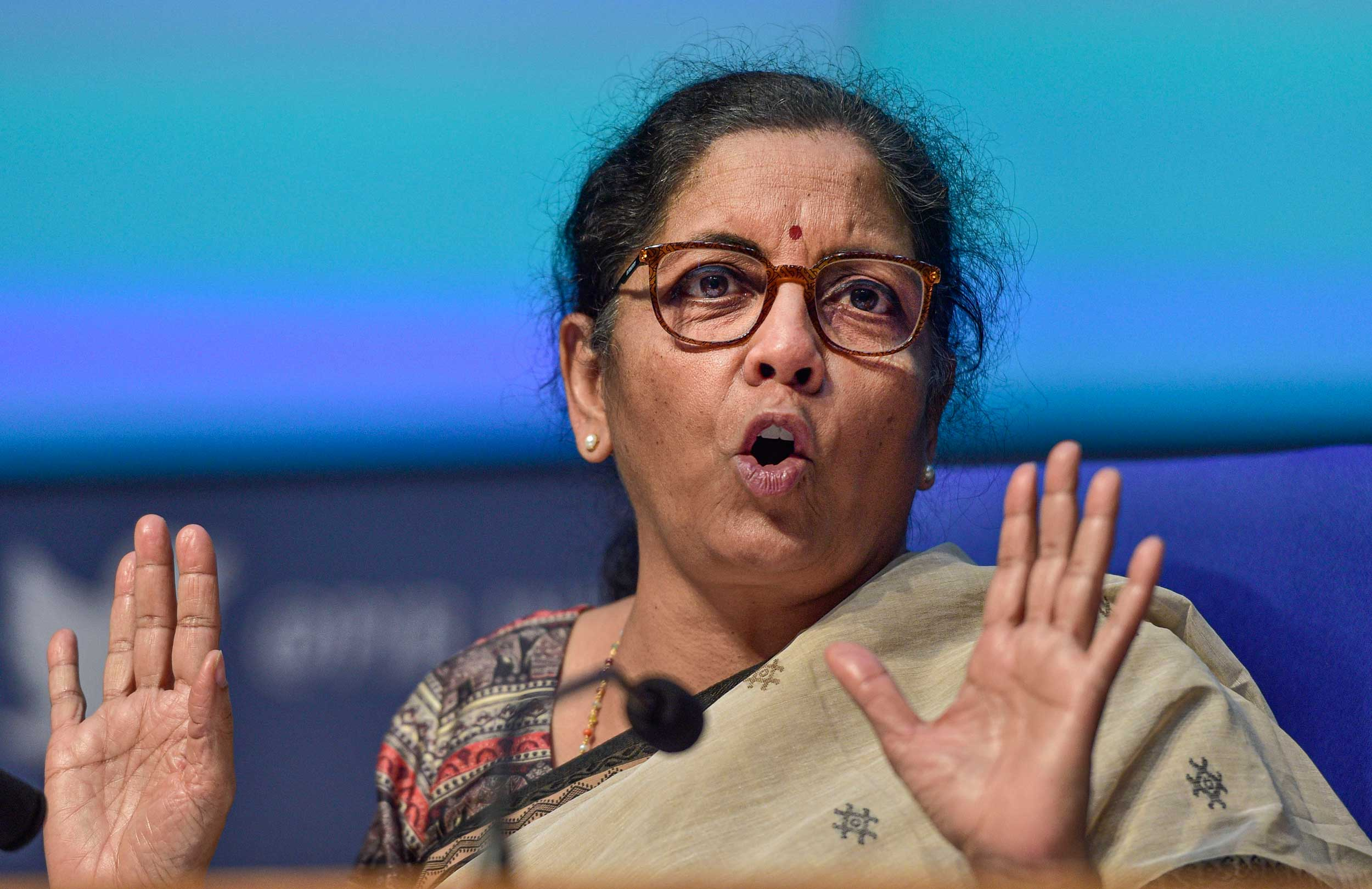 Nirmala Sitharaman addresses the news conference on the economic package at the National Media Centre in New Delhi on Saturday.