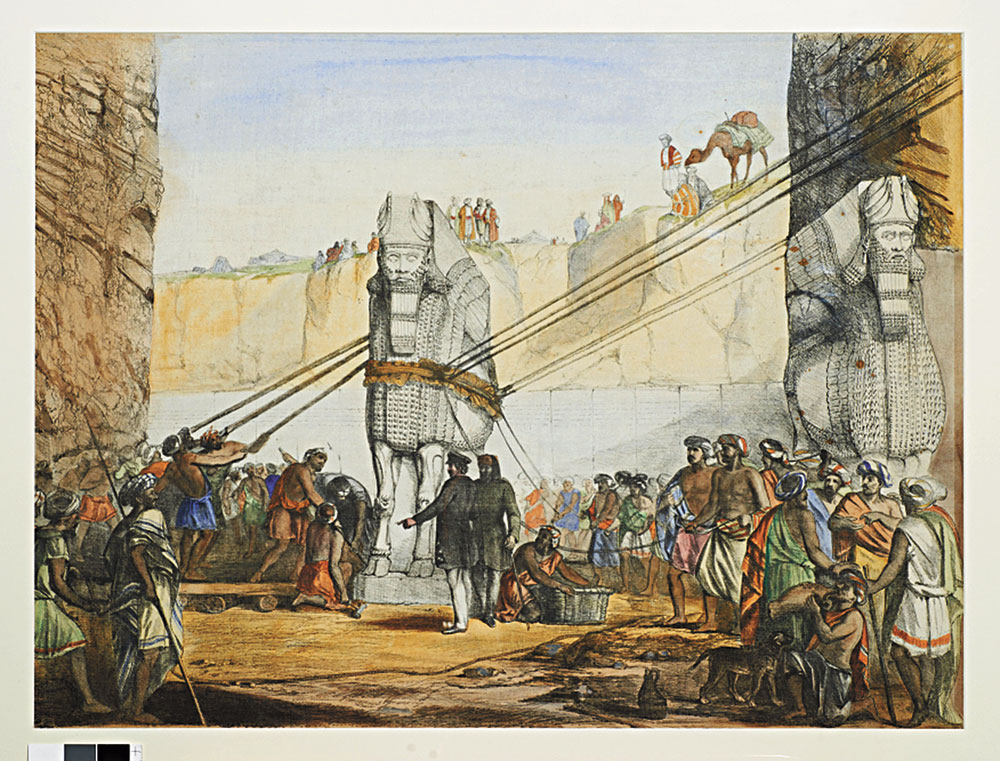 A watercolour representation of the lowering of the lamassu