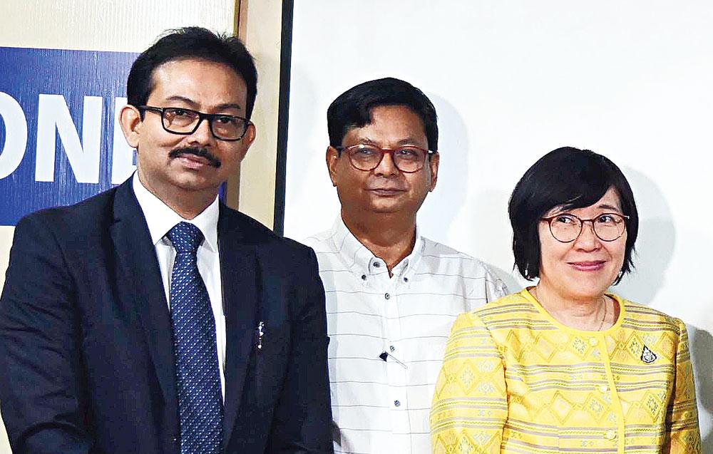 Satyam Roychowdhury and (right) Debashish Sen in New Town on Wednesday