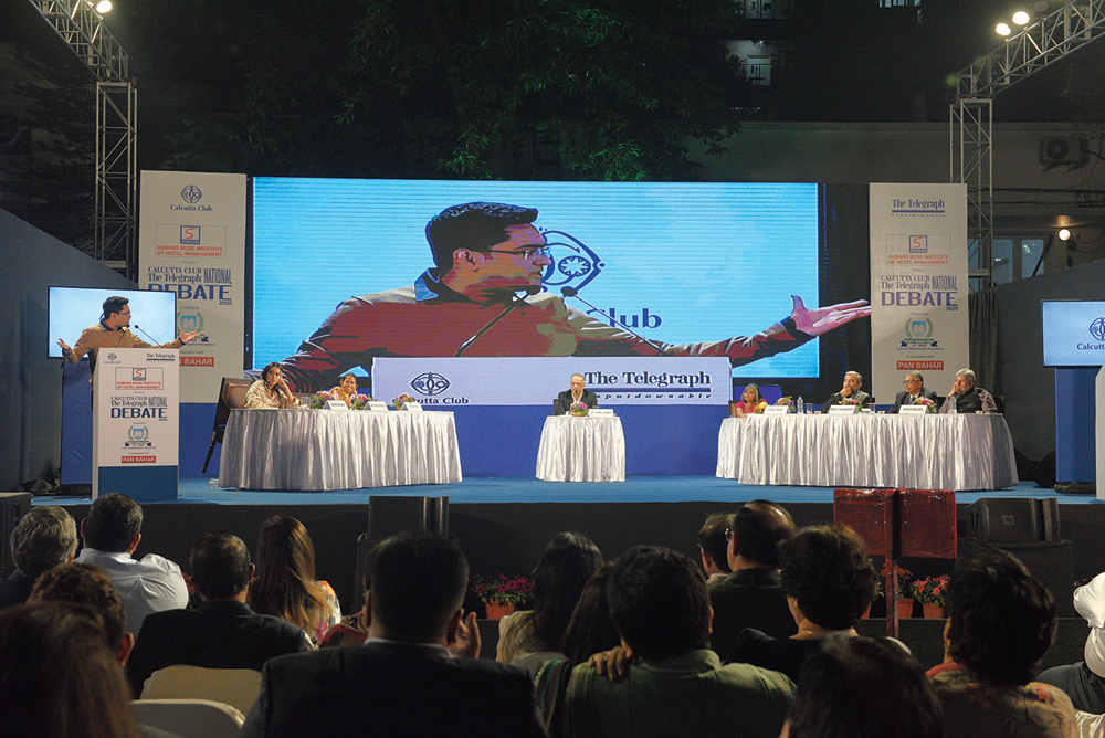 Abhishek Banerjee (on the podium), Swara Bhasker, Aishe Ghosh, moderator Kunal Sarkar, Sushil Pandit (third from right), Abhijit Chakrabarti and Shishir Bajoria at the Calcutta Club The Telegraph National Debate 2020