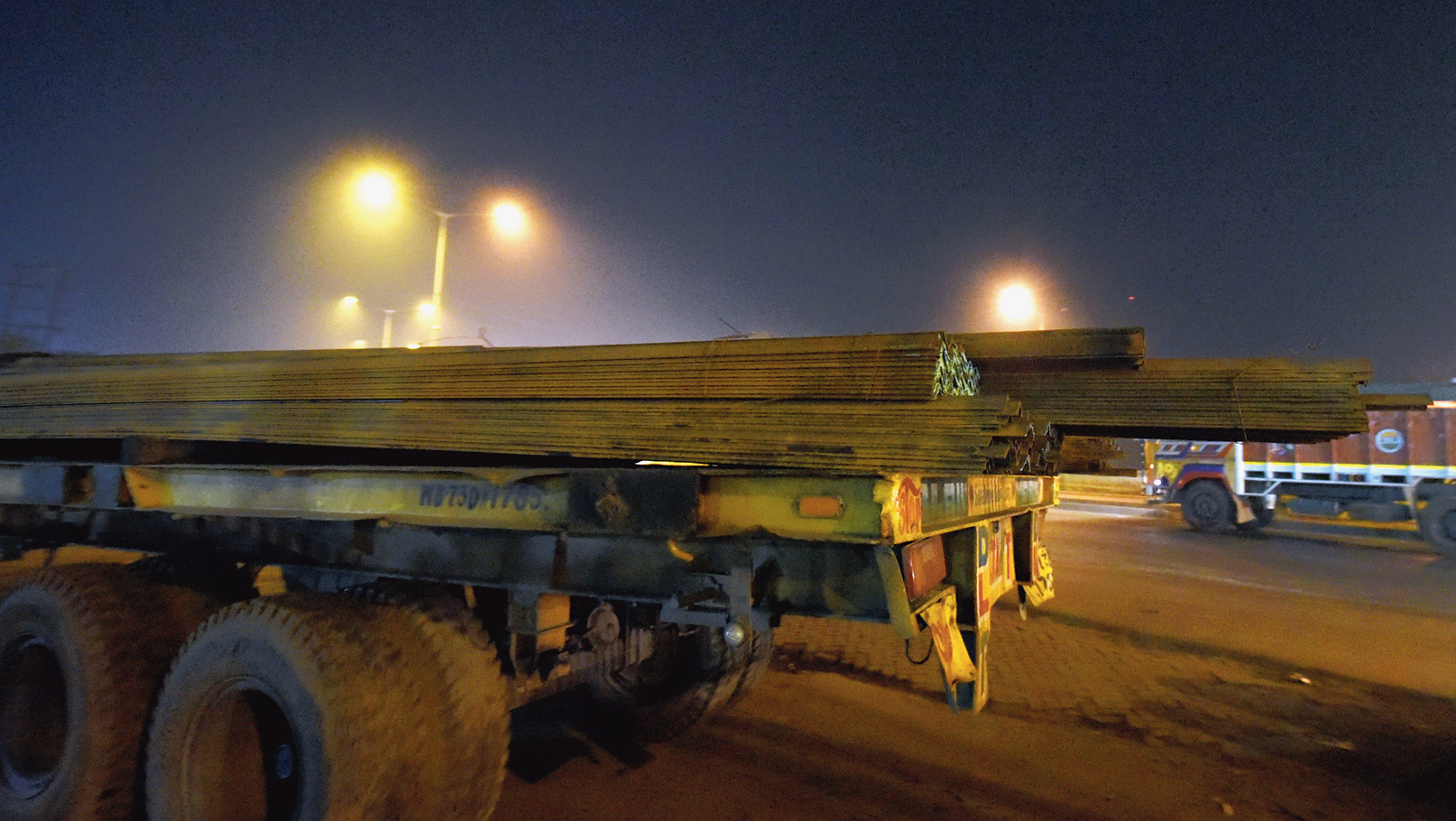 Iron rods jutting out of a truck on Bombay Road on Wednesday night.