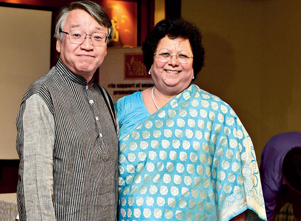 Sunita Budhiraja with Masayuki Taga, the Japanese consul-general, at the #SixYardsand365Days sari meet at Hotel Hindusthan International