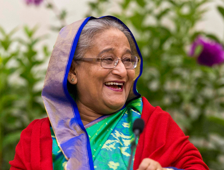 Bangladeshi Prime Minister Sheikh Hasina interacts with journalists in Dhaka, Bangladesh on Monday, December 31, 2018.