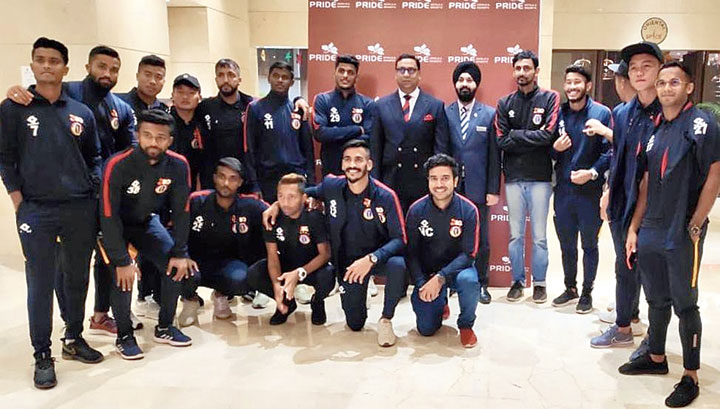 East Bengal players and support staff at a New Delhi hotel on Friday