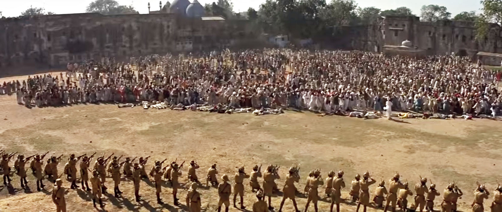 A still from the film, Gandhi (1982), depicting the Jallianwala Bagh massacre