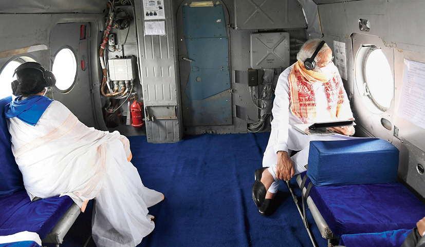 Prime Minister Narendra Modi and chief minister Mamata Banerjee on May 22 during an aerial survey of areas affected by Cyclone Amphan