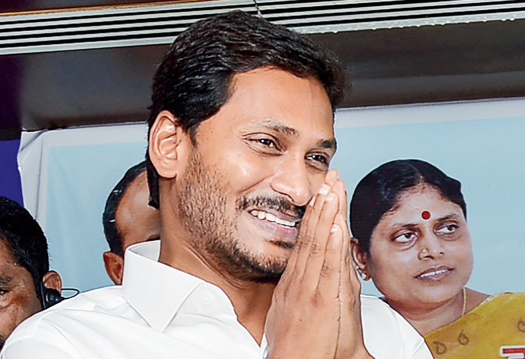 Jaganmohan Reddy during a meeting with party MPs, at Tadepalli in Andhra Pradesh on May 25.