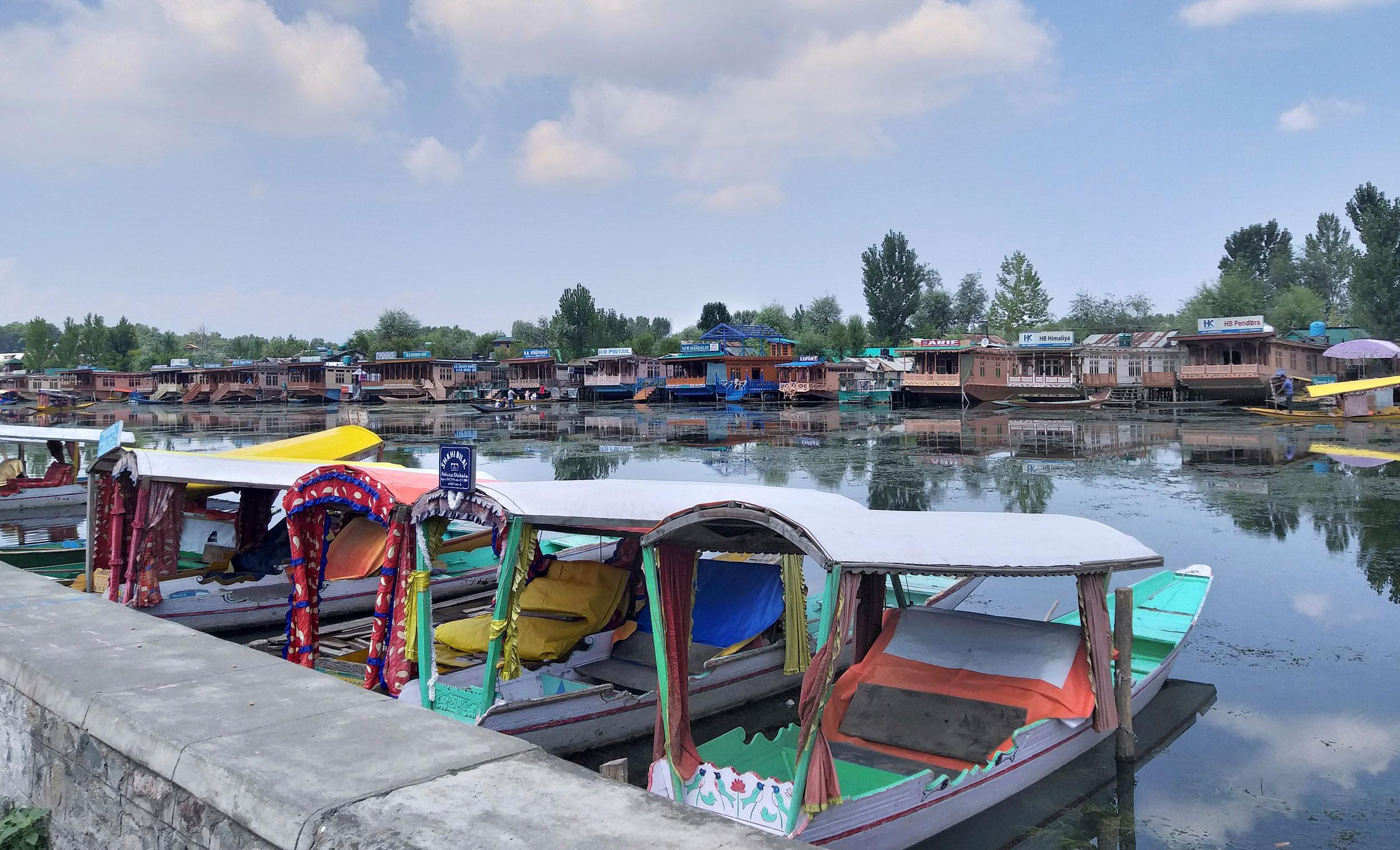Shikaras (traditional gondolas) parked on the Dal Lake in Srinagar on August 8, 2019.