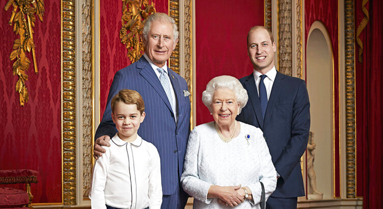 Queen Elizabeth, Prince Charles, Prince William and Prince George pose for a photo to mark the start of the new decade in the Throne Room of Buckingham Palace, London