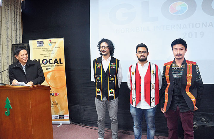 Cast and crew of the film Axone (aroma) at the festival in Kohima on Thursday.