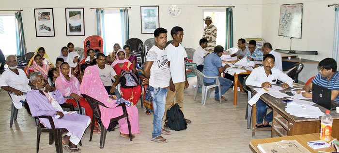 Applicants at an NRC centre in Assam's Sivasagar for verification of their documents