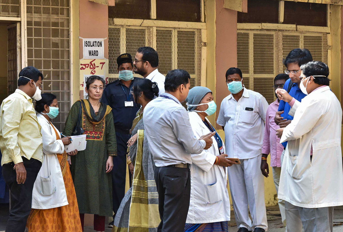 A team visits the Special Isolation Ward set up to provide treatment to any suspected case of the coronavirus (2019-nCoV) at a hospital, in Hyderabad, on January 28, 2020.