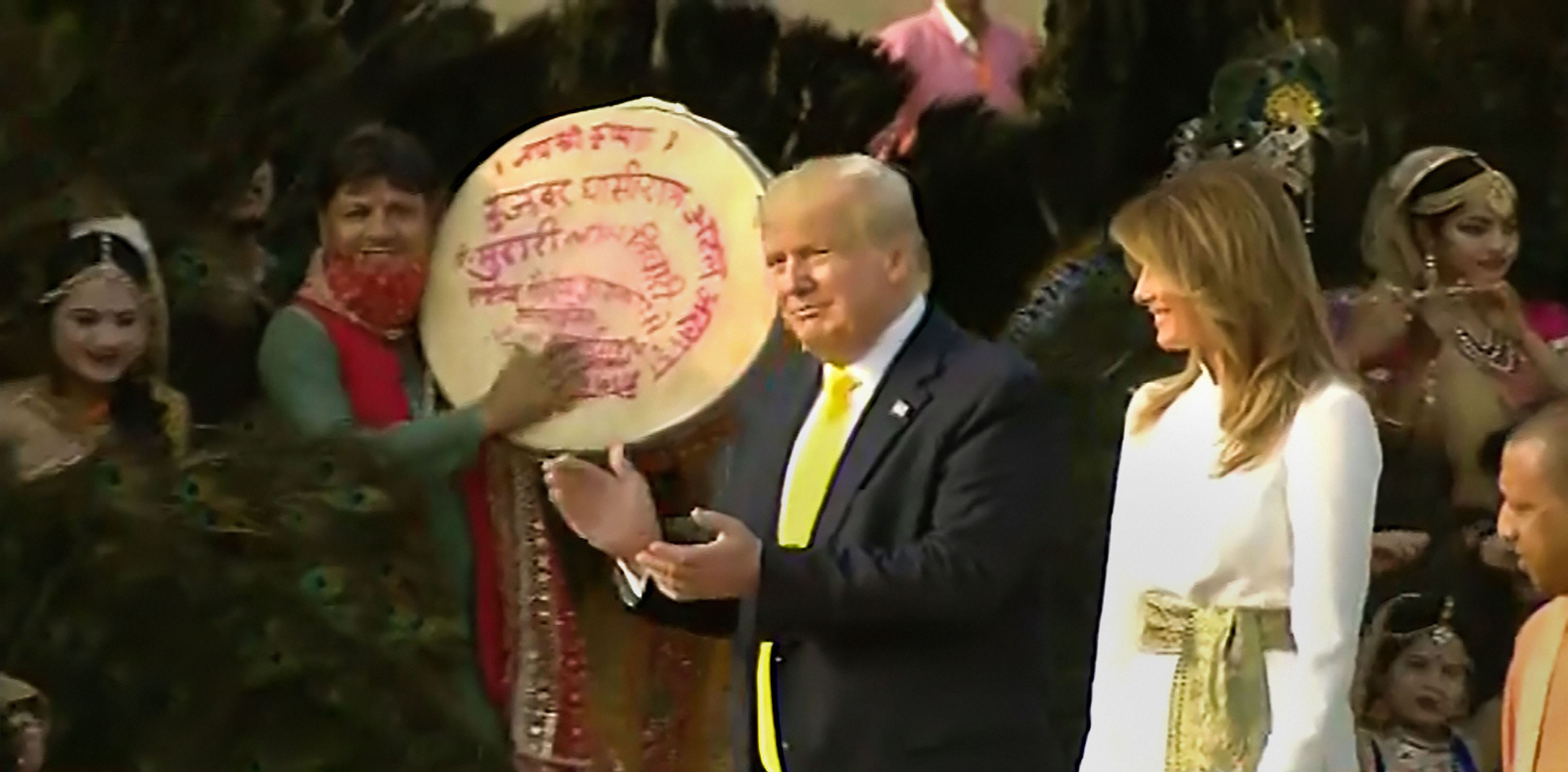US President Donald Trump accompanied by First Lady Melania Trump arrive in Agra, Monday, February 24, 2020