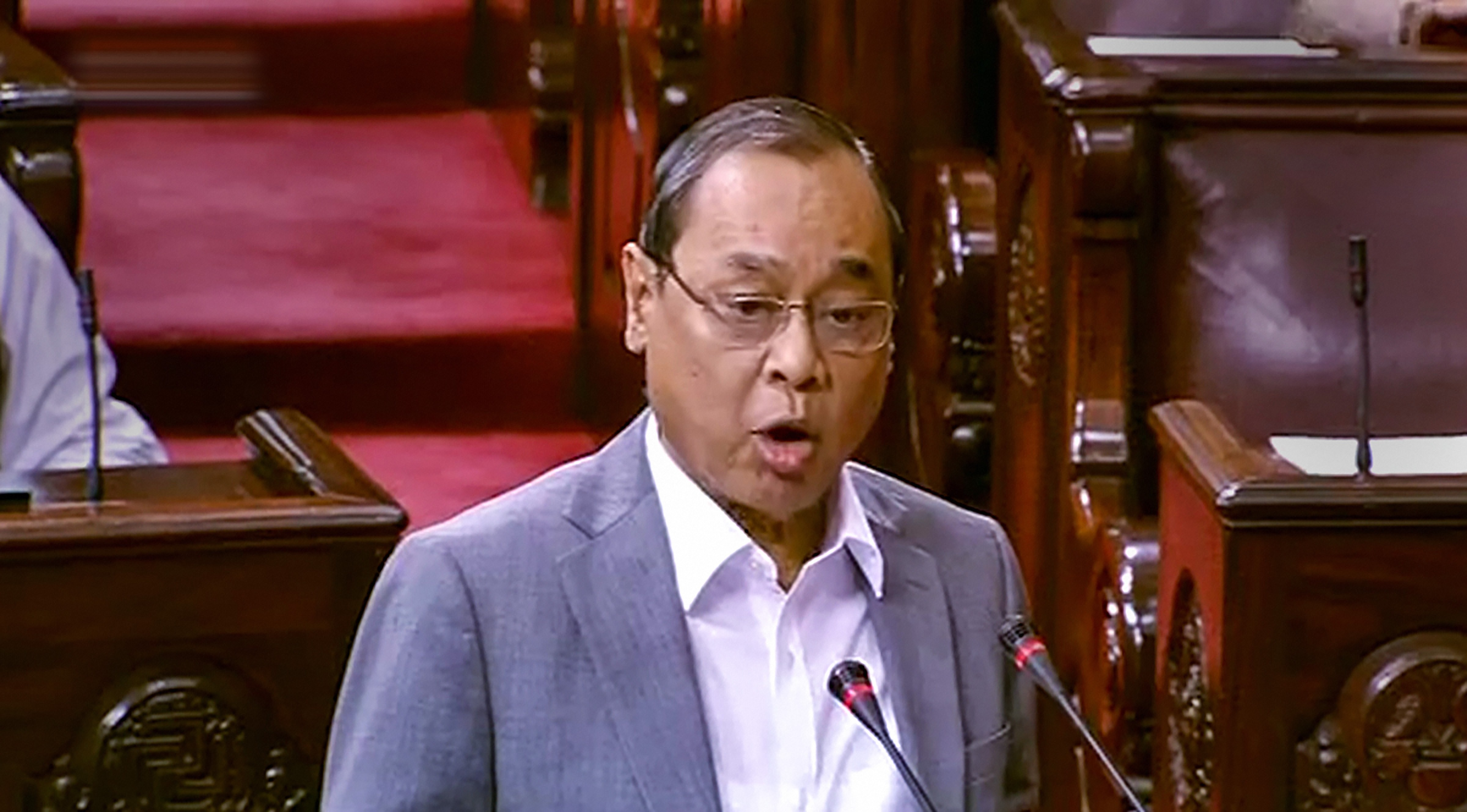 Former Chief Justice of India (CJI) Ranjan Gogoi takes oath as Rajya Sabha MP during the ongoing Budget Session of Parliament, in New Delhi, Thursday, March 19, 2020