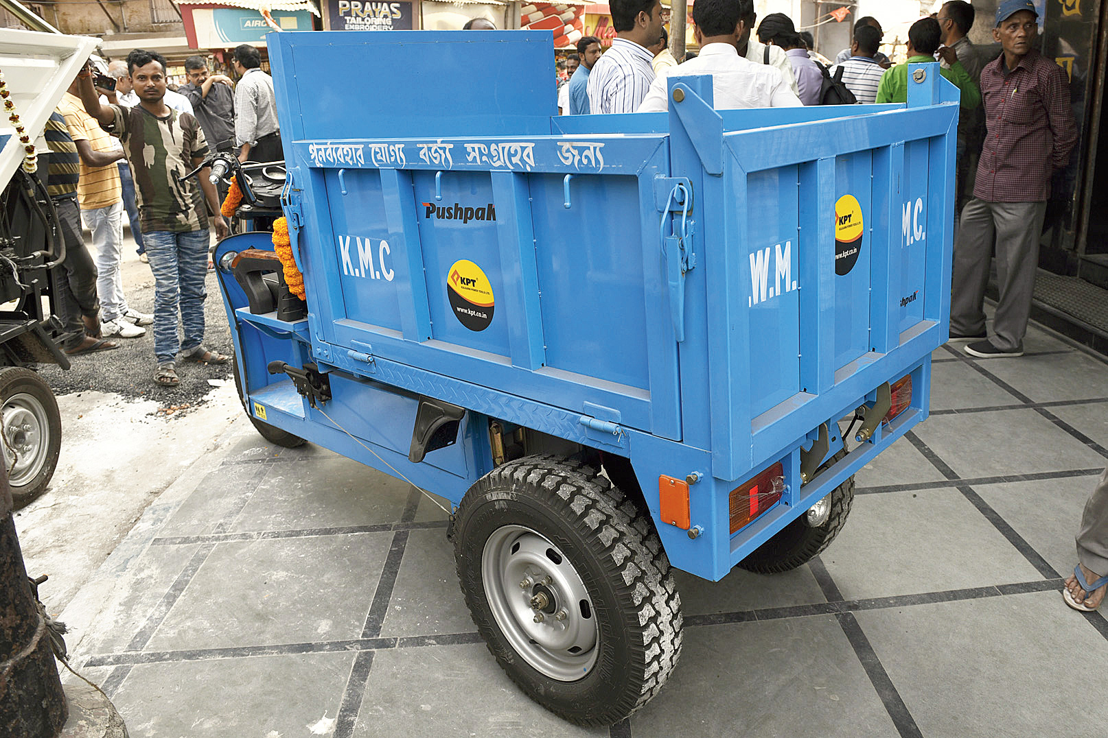 Battery-operated cars that will collect recyclable waste from households.