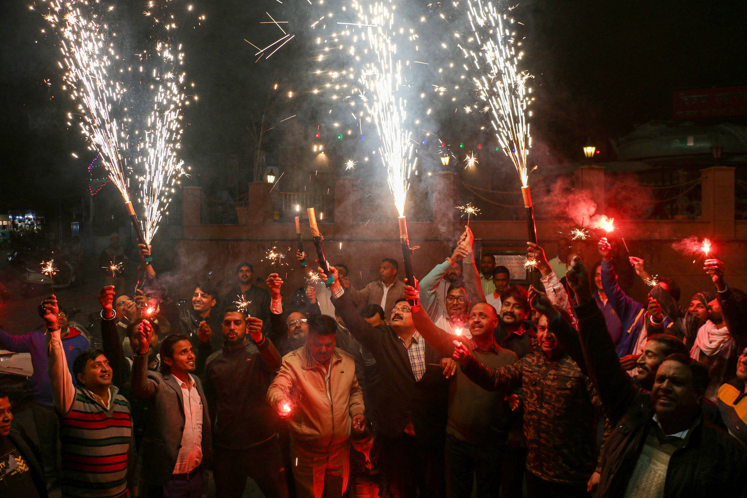 A display of fireworks set by people commending the Hyderabad Police for its action against the four accused in the gang-rape and murder of a 25-year-old veterinarian, in Ajmer, on December 6, 2019.