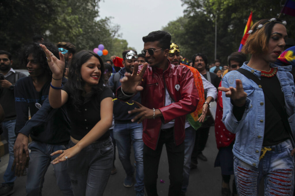 Members of the LGBTQ community and their supporters march during the annual Delhi Queer Pride Parade in New Delhi, Sunday, November 24, 2019.